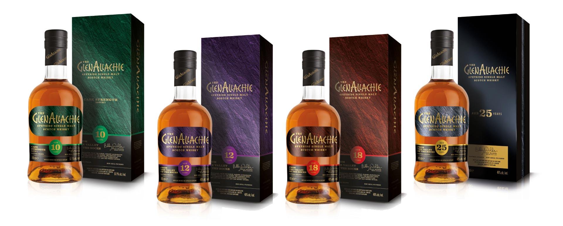 Die vier Flaschen der GlenAllachie Core Range mit Verpackung.